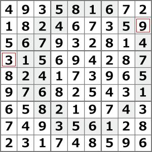 9月のナンプレパズル解答